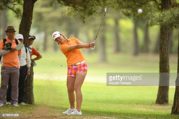 Babe Liu of Taiwan hits her second shot on the 9th hole during the final round of the World Ladies Championship Salonpas Cup at the Ibaraki Golf Club...