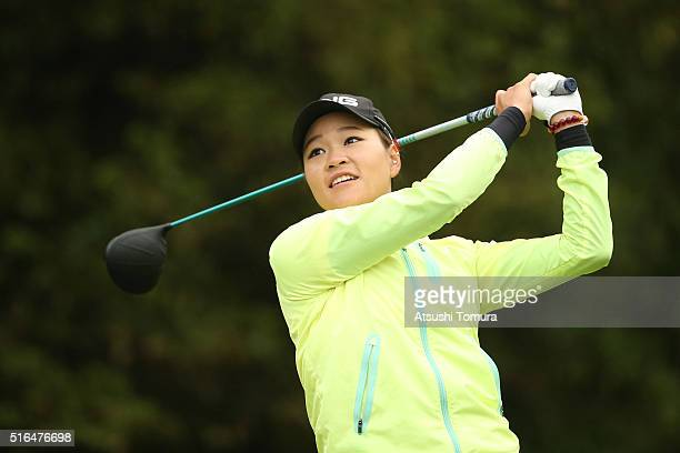 Babe Liu of Taiwan hits her tee shot on the 18th hole during the second round of the TPoint Ladies Golf Tournament at the Wakagi Golf Club on March...