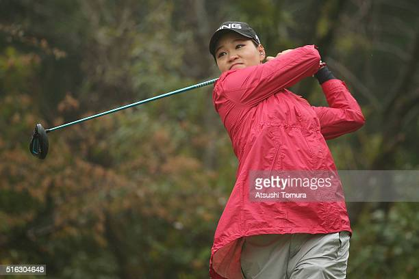Babe Liu of Taiwan hits her tee shot on the 3rd hole during the first round of the TPoint Ladies Golf Tournament at the Wakagi Golf Club on March 18...