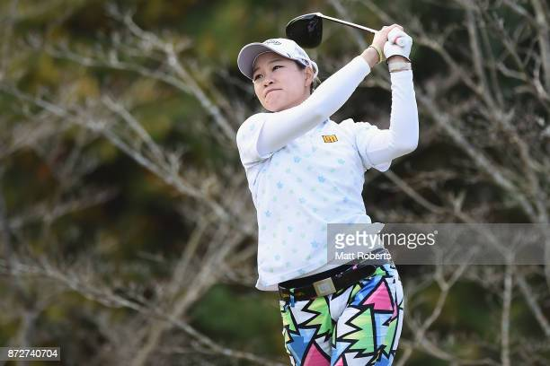 Babe Liu of Taiwan hits her tee shot on the 8th hole during the second round of the Itoen Ladies Golf Tournament 2017 at the Great Island Club on...
