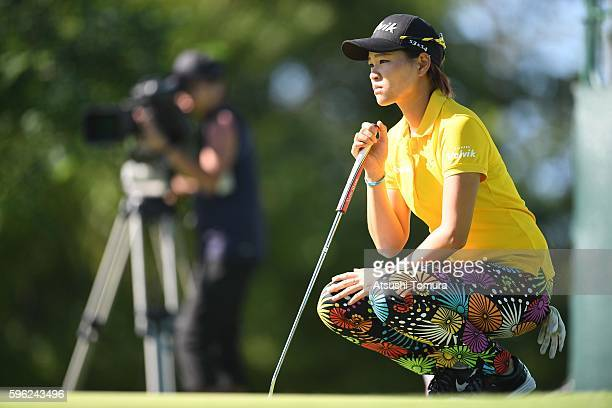 Babe Liu of Taiwan lines up her putt on the 18th green during the third round of the Nitori Ladies 2016 at the Otaru Country Club on August 27 2016...