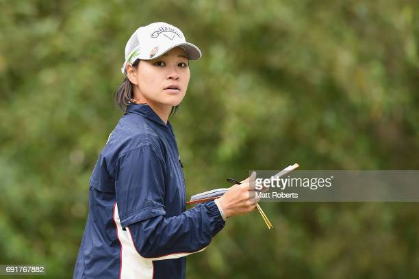 Babe Liu of Taiwan looks at her yardage book during the first round of the Yonex Ladies Golf Tournament 2016 at the Yonex Country Club on June 3 2017...