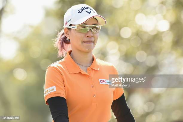 Babe Liu of Taiwan looks on during the second round of the TPoint Ladies Golf Tournament at the Ibaraki Kokusai Golf Club on March 17 2018 in Ibaraki...
