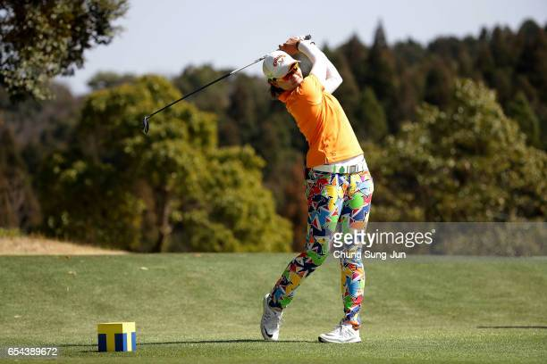 Babe Liu of Taiwan plays a tee shot on the fifth hole in the first round during the TPoint Ladies Golf Tournament at the Wakagi Golf Club on March 17...