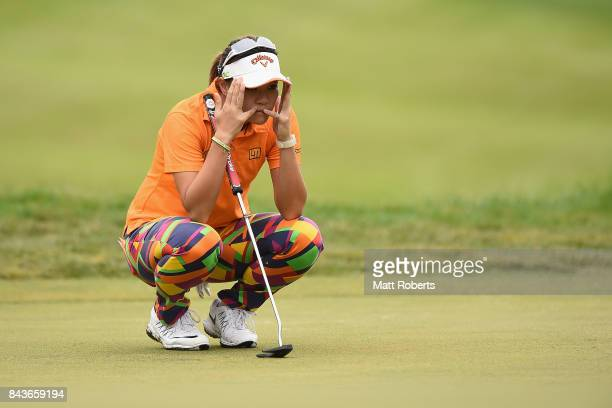 Babe Liu of Taiwan prepares to putt during the first round of the 50th LPGA Championship Konica Minolta Cup 2017 at the Appi Kogen Golf Club on...