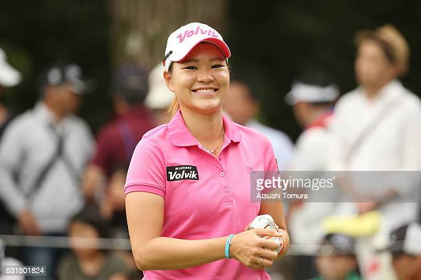 Babe Liu of Taiwan smiles during the final round of the HokennoMadoguchi Ladies at the Fukuoka Country Club Ishino Course on May 15 2016 in Fukuoka...