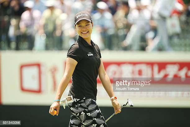 Babe Liu of Taiwan smiles during the second round of the HokennoMadoguchi Ladies at the Fukuoka Country Club Ishino Course on May 14 2016 in Fukuoka...