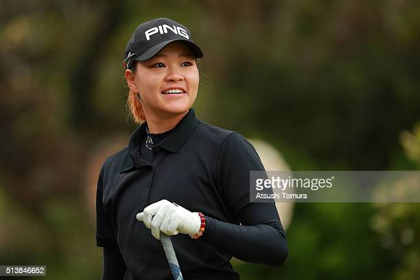 Babe Liu of Taiwan smiles during the third round of the Daikin Orchid Ladies Golf Tournament at the Ryukyu Golf Club on March 5 2016 in Nanjo Japan