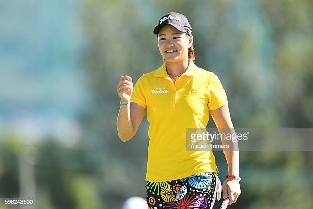 Babe Liu of Taiwan smiles during the third round of the Nitori Ladies 2016 at the Otaru Country Club on August 27 2016 in Otaru Japan