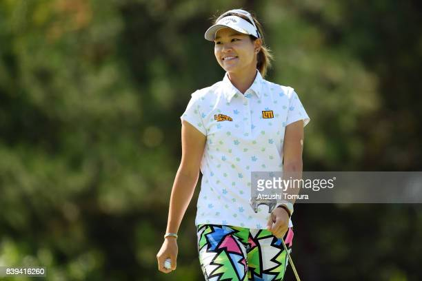 Babe Liu of Taiwan smiles during the third round of the Nitori Ladies 2017 at the Otaru Country Club on August 26 2017 in Otaru Hokkaido Japan