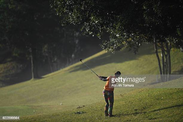 Babe Liu of Taowan hits her second shot on the 4th hole during the second round of the Itoen Ladies Golf Tournament 2016 at the Great Island Club on...