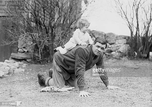 Babe Ruth and daughter, Dorothy, on his farm in Sudbury, Massachusetts.