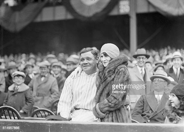 Babe Ruth and his new manager at the Yankees opener...The Mighty Sultan of Swat and his wife, the former Mrs. Claire Hodgson, shown at the opening of...