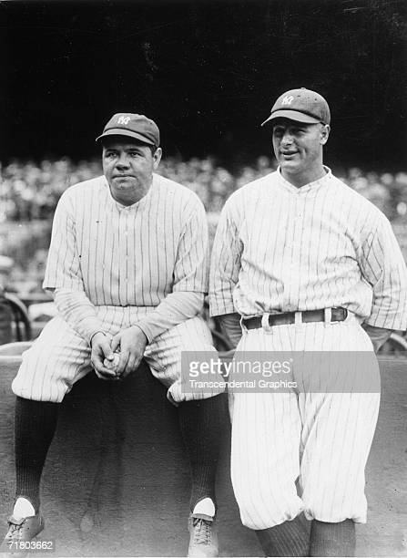 Babe Ruth and Lou Gehrig pose in Yankee Stadium before a game with the St Louis Browns on July 12 1929 in New York New York The Babe and Lou would...