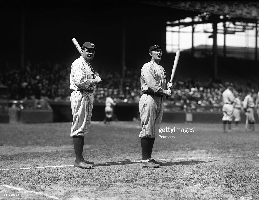 babe-ruth-and-ty-cobb-two-of-the-american-leagues-heaviest-hitters-picture-id517255554
