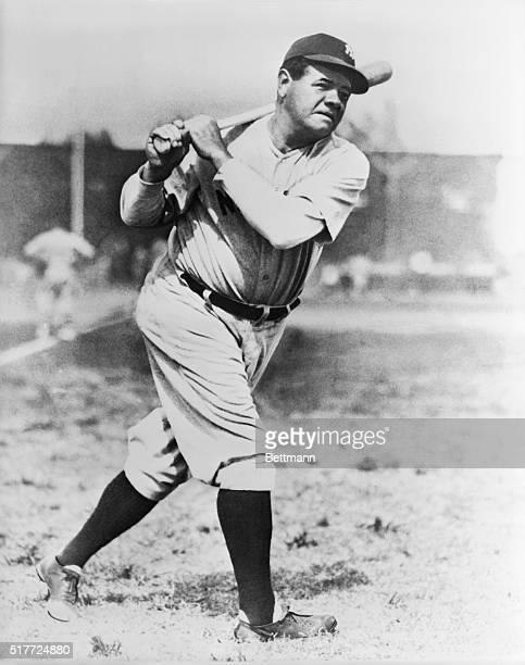 Babe Ruth at bat. Undated photograph.