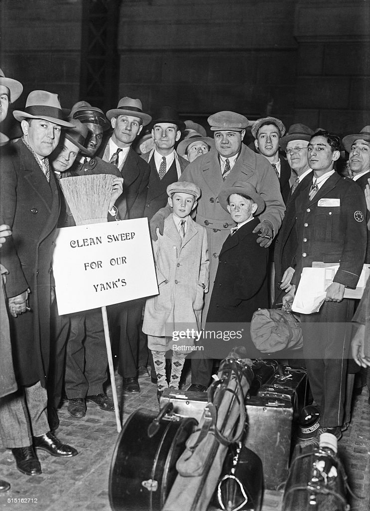 Babe Ruth with Family and Friends at Train Station : News Photo