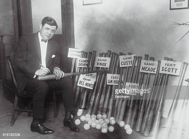 Babe Ruth autographs bats and balls for distribution in 28 citizens military training camps...One bat and one ball, each autographed by Babe Ruth...