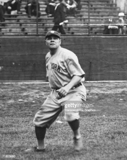 NEW YORK MAY 18 1921 Babe Ruth backs up for a fly ball during an American League game at Yankee Stadium Ruth plays right field in 1921 his second...
