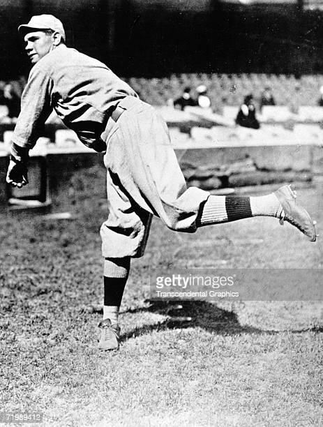 Babe Ruth Boston Red Sox pitcher warms up in Fenway Park before a contest in the 1918 season