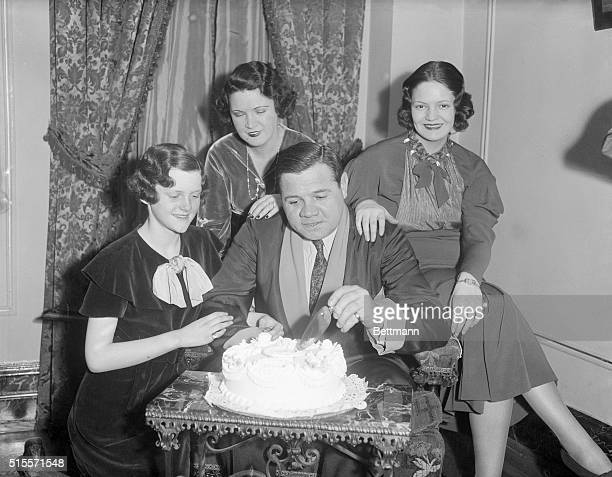 Babe Ruth during his 40th birthday party with , wife, Dorothy Ruth, Babe Ruth, and Julia Ruth.