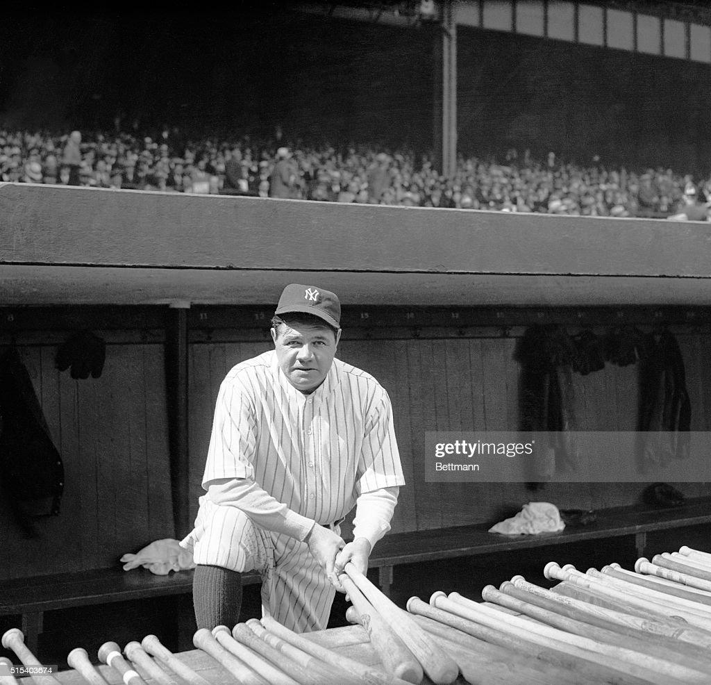 Babe Ruth Holding Baseball Bats : News Photo