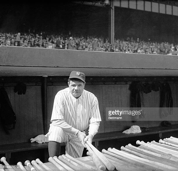 Babe Ruth during the Yankees' season opener at Yankee Stadium.