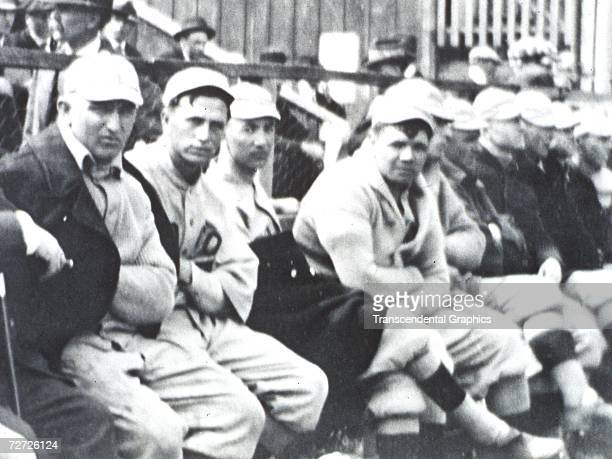 HOT SPRINGS ARKANSAS MARCH 1916 Babe Ruth fourth from left sits on the Boston Red Sox bench at a spring training game in Hot Springs Arkansas in 1916...