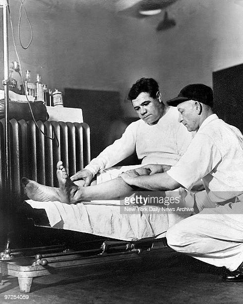 Babe Ruth gets knee checked out by Doctor Woods to make sure they're in shape for a few home runs The Bambino will be there tomorrow