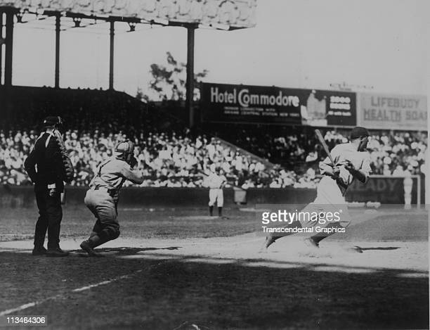 Babe Ruth hits a home run during a home contest circa the 1922 in the Polo Grounds in New York City