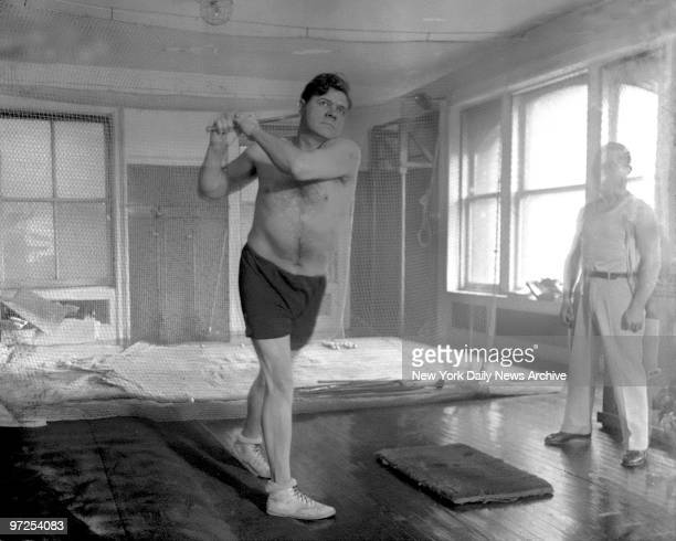 Babe Ruth is now undergoing a very stiff period of training in a New York gym preparatory to the coming season Many hours a day the big boy of...