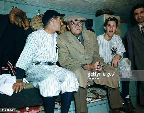 Babe Ruth is seen at the Yankee Stadium