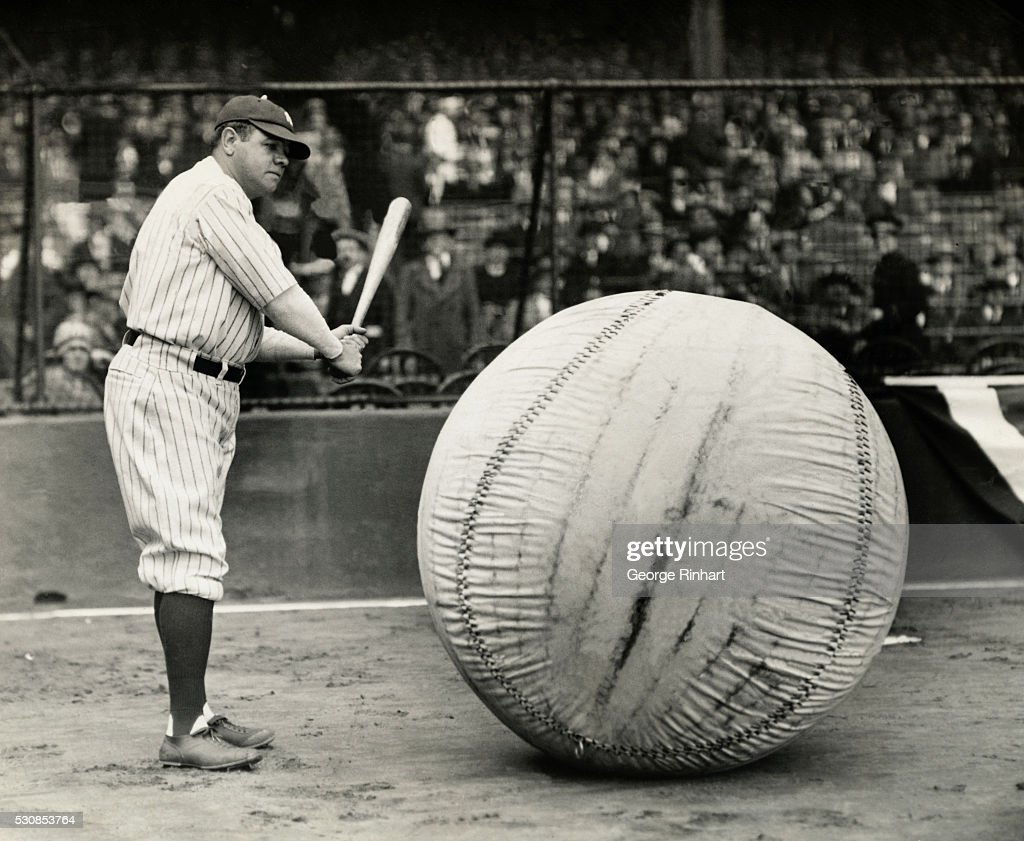 Babe Ruth Is Shown About To Swing At The World S Largest