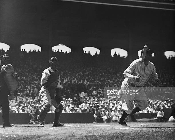 Babe Ruth just after clouting a homer in the third inning during the Americans VS Nationals game