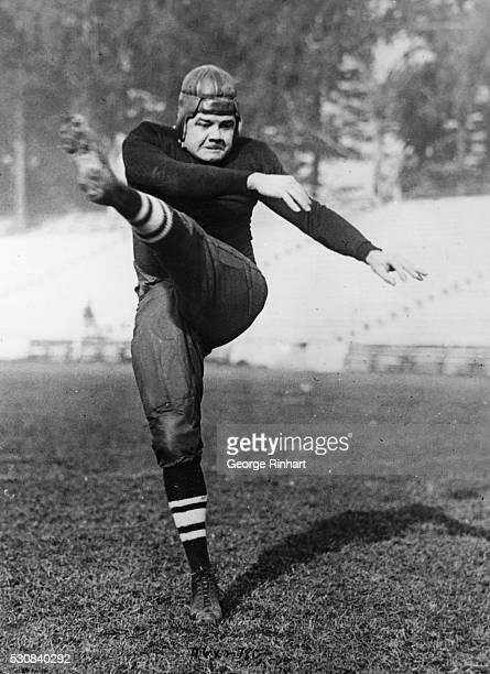 Babe Ruth Kicks A Home Run San Francisco Calif Babe Ruth The Mighty King of Swat of baseballdom appeared in a new rolefootball player In the game...