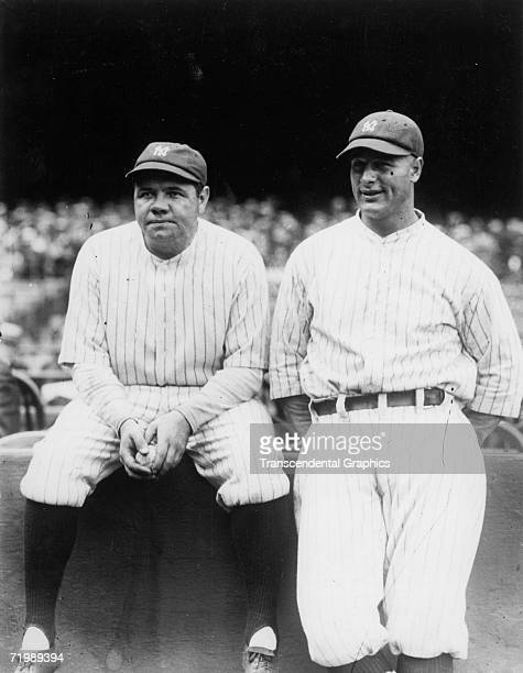 Babe Ruth New York Yankees outfielder left talks with teammate and first baseman Lou Gehrig in Yankee Stadium before a game in 1929