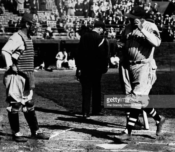 Babe Ruth of the Boston Braves crosses home plate for what would be his last Home Run as a Boston Brave circa 1935