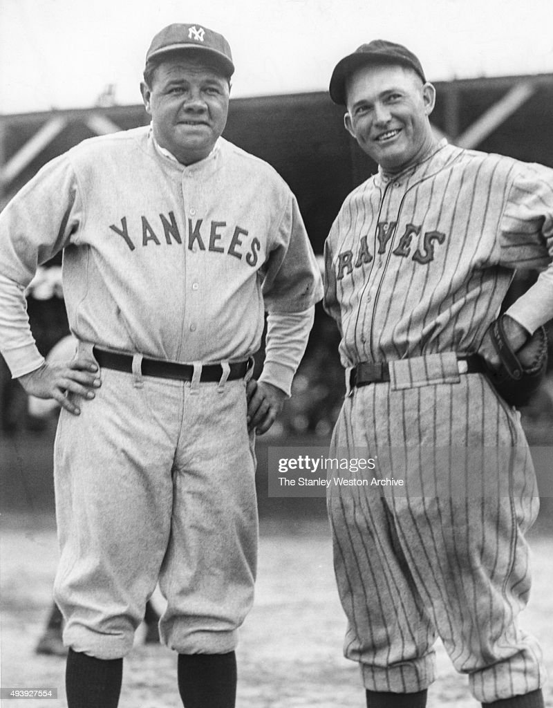 Babe Ruth of the New York Yankees and Roger Hornsby of the Boston Braves pose for a portrait circa 1928.