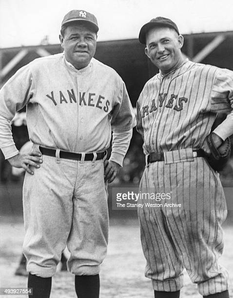 Babe Ruth of the New York Yankees and Roger Hornsby of the Boston Braves pose for a portrait circa 1928