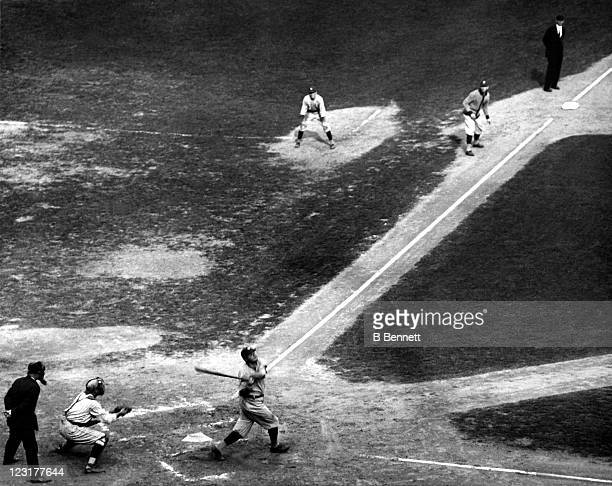Babe Ruth of the New York Yankees swings at a pitch during an MLB game circa 1921