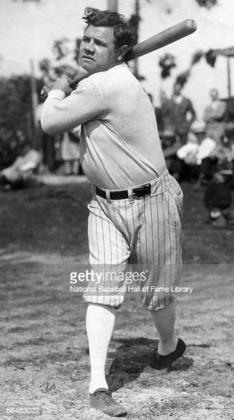Babe Ruth of the New York Yankees warms up before a game Babe Ruth played for the New York Yankees from 19201934