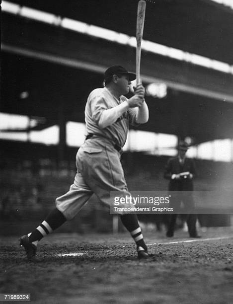 Babe Ruth outfielder for the Boston Braves takes some practice swings in Braves Field in Boston in 1935