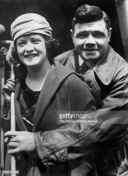 Babe Ruth outfielder for the New York Yankees poses for a portrait with his wife Helen Ruth circa 1923
