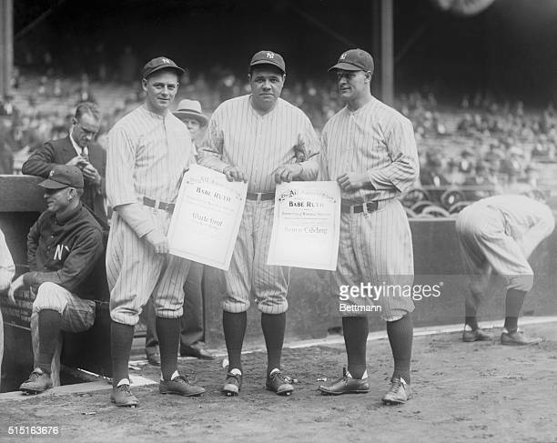 Babe Ruth selects Waite Hoyt and Gehrig for All-American. Bronx, New York: From left to right [are] Hoht, Ruth, and Gehrig.