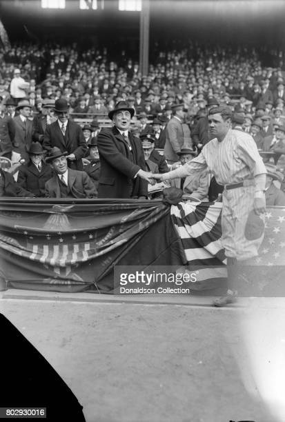 Babe Ruth Shaking Hands with President Warren Harding at Yankee Stadium on April 4 1923 with Dr Chas Sawyer Albert Lasker also in box in New York