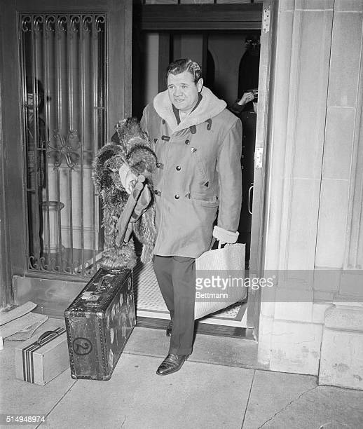 Babe Ruth shown leaving his apartment on his way to a hunting rendezvous upstate