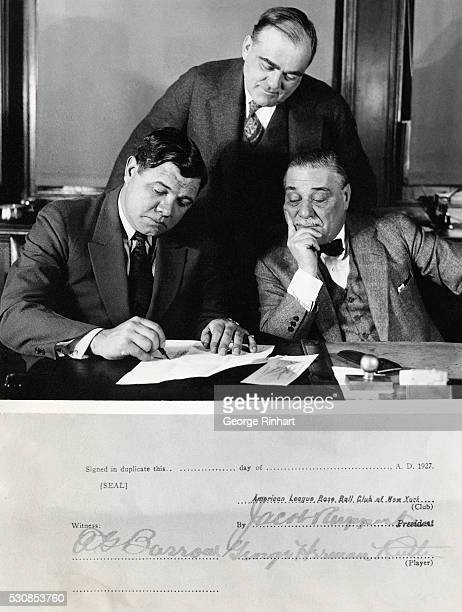 Babe Ruth signed a contract with Col Jacob Ruppert owner of the New York Yankees which will net him $210000 in three annual installments of $70000...