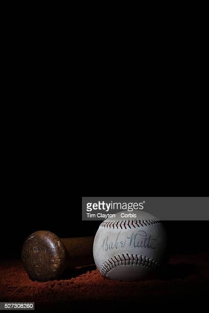 A Babe Ruth signed antique vintage baseball and vintage wooden baseball bat 7th June 2012 Photo Tim Clayton