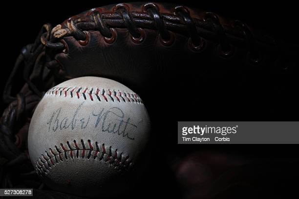 A Babe Ruth signed baseball in a antique vintage baseball mittt 7th June 2012 Photo Tim Clayton