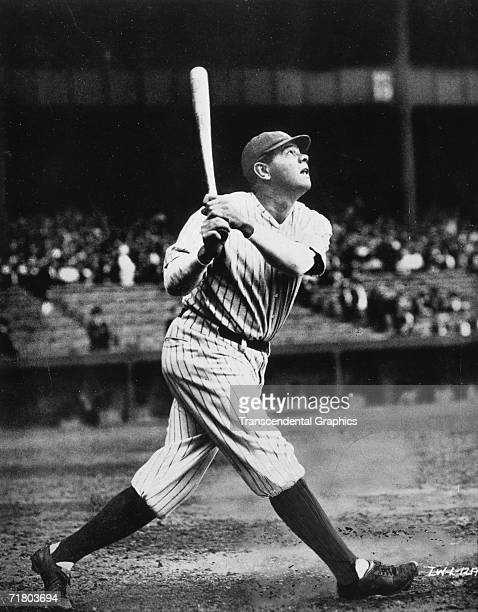 NEW YORK CIRCA 1923 Babe Ruth takes a mighty swing during pregame batting practice in Yankee Stadium